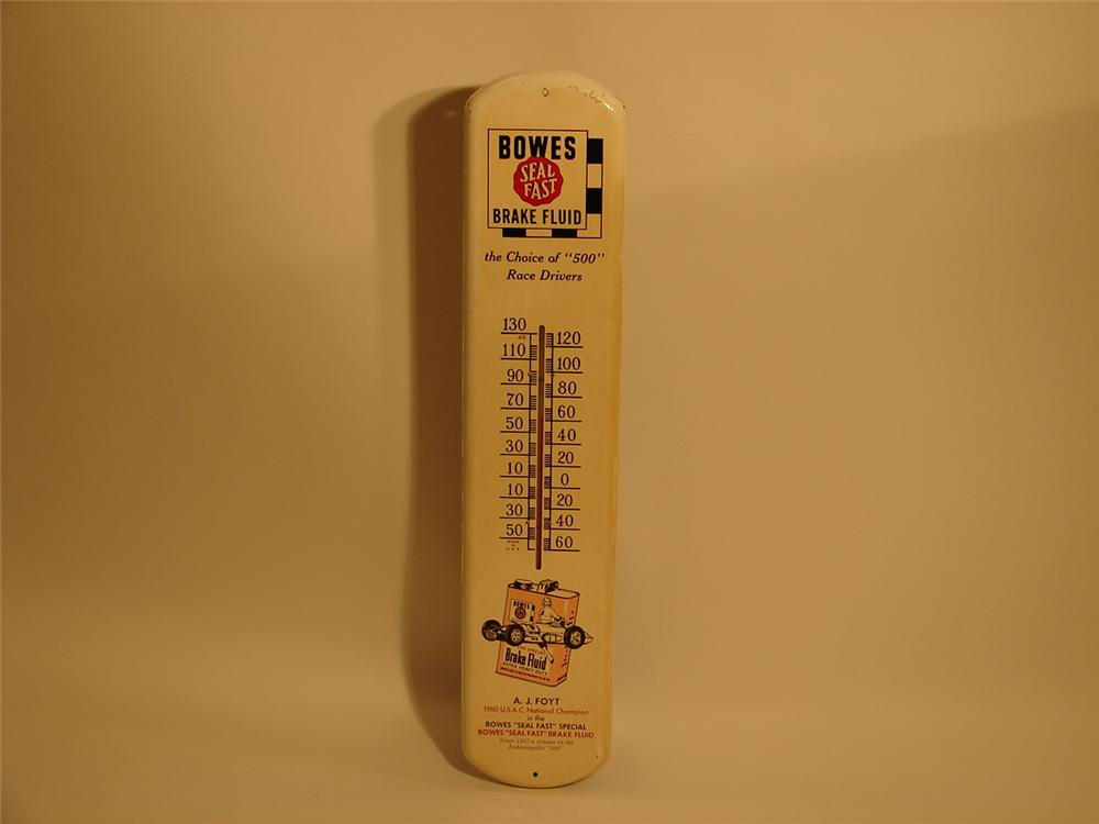 1960s Bowes Seal Fast Brake Fluid over-sized tin garage thermometer with A.J. Foyts Indy Racer depicted. - Front 3/4 - 46982