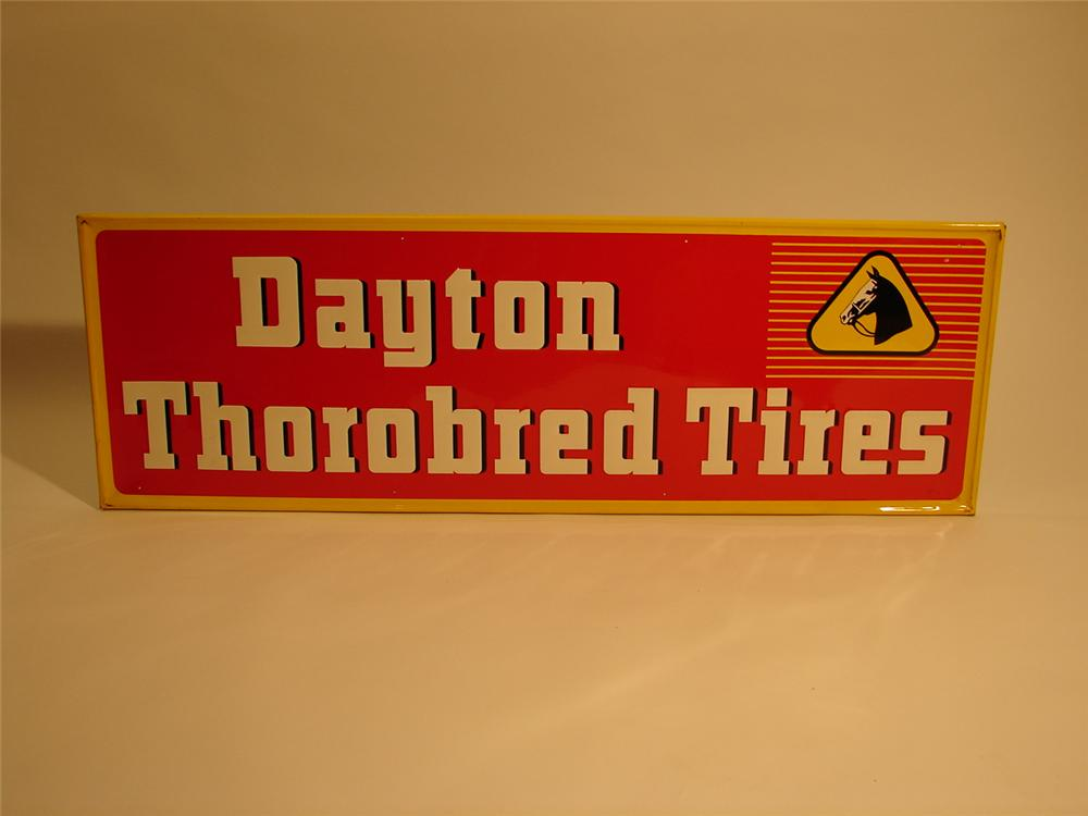 N.O.S. 1953 Dayton Tires Thorobred Tires single-sided tin horizontal garage sign. - Front 3/4 - 46983