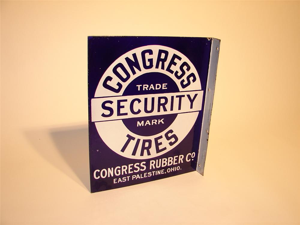 Extraordinary late 20s Congress Security Tires double-sided cobalt blue porcelain station flange. - Front 3/4 - 46989