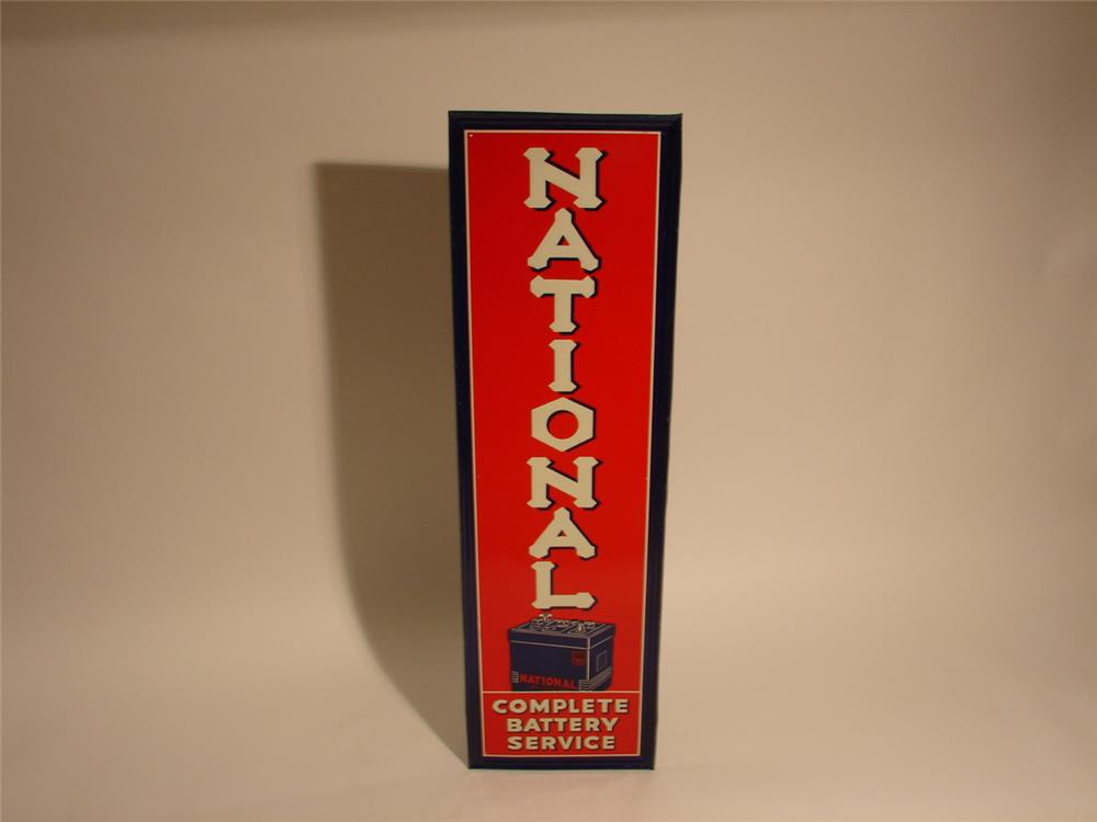 1930s National Battery Service self-framed tin garage sign with battery graphic. - Front 3/4 - 46993