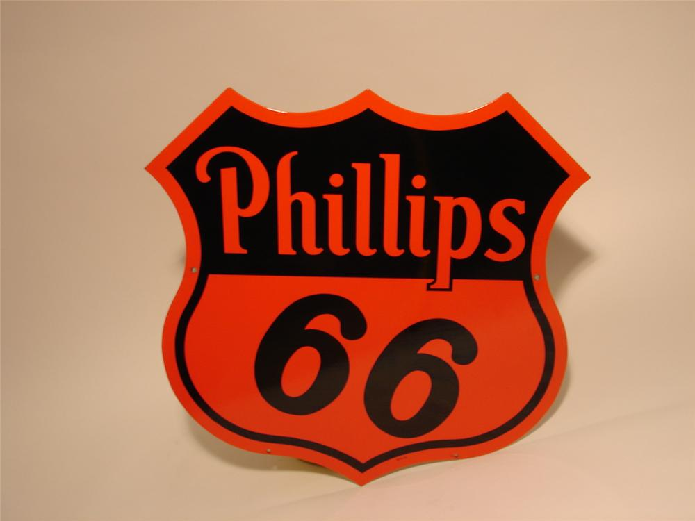 N.O.S. 1955 Phillips 66 double-sided porcelain station sign. - Front 3/4 - 47000