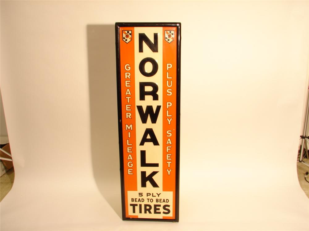 1930s N.O.S. Norwalk Tires self-framed tin vertical garage sign. - Front 3/4 - 47001