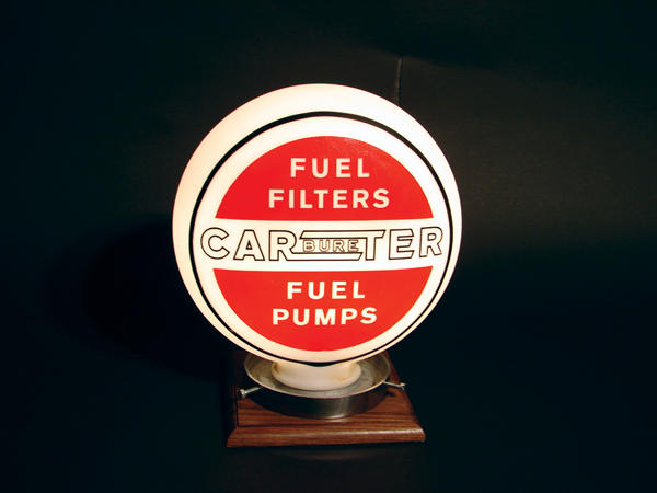 1930s Carter Carburetors one-piece etched garage display globe. - Front 3/4 - 47003
