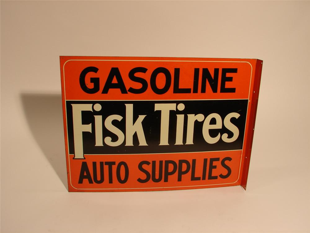 "Unparalleled late teens Fisk Tires ""Gasoline-Auto Supplies"" double-sided tin litho station sign. - Front 3/4 - 47007"
