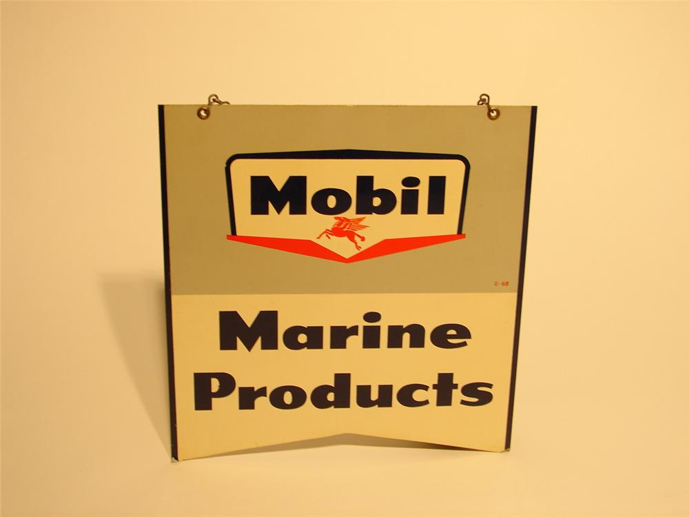 Uncommon late 50s Mobil Marine Products double-sided tin hanging sign. - Front 3/4 - 47026