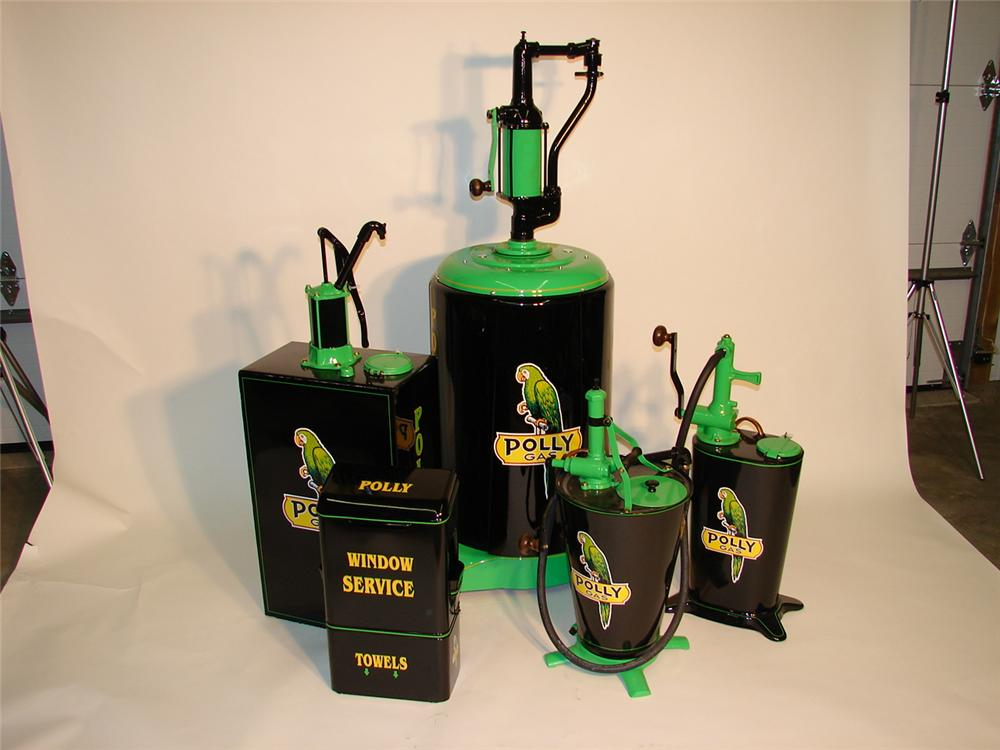 Unparalleled five piee set of Polly Gasoline restored early station pieces. - Front 3/4 - 47033