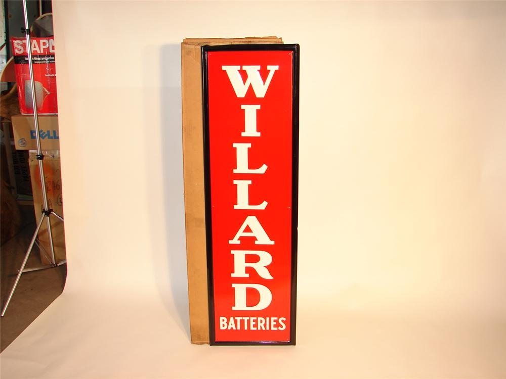 1953 Willard Batteries tin sign still in the original box! - Front 3/4 - 47039