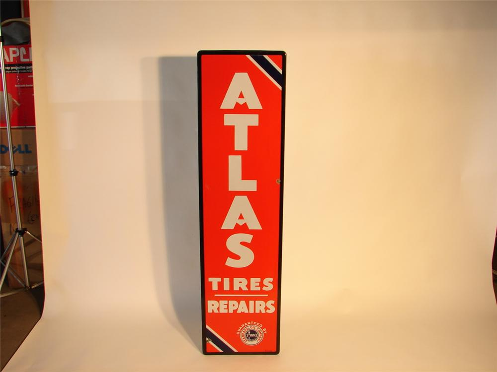 1940s Standard Atlas Tires and Batteries porcelain garage sign. - Front 3/4 - 47040