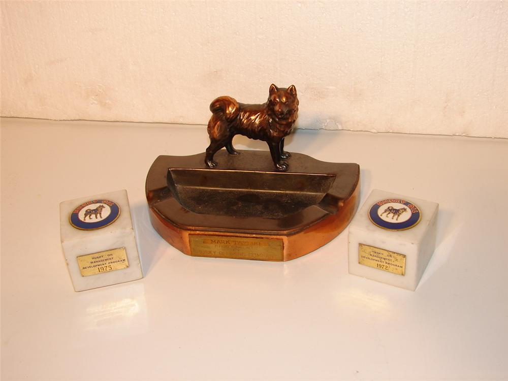 Uncommon 1950s Husky Gasoline award ashtray with two Husky Oil paper weights. - Front 3/4 - 47046