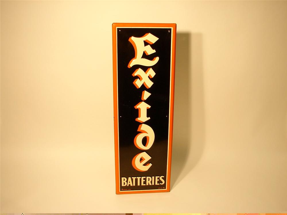 N.O.S. 1948 Exide Batteries single-sided tin garage sign. - Front 3/4 - 47055