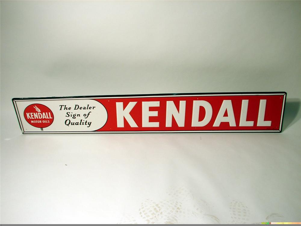 N.O.S. 1950s Kendall Motor Oil single-sided tin station sign. - Front 3/4 - 47058