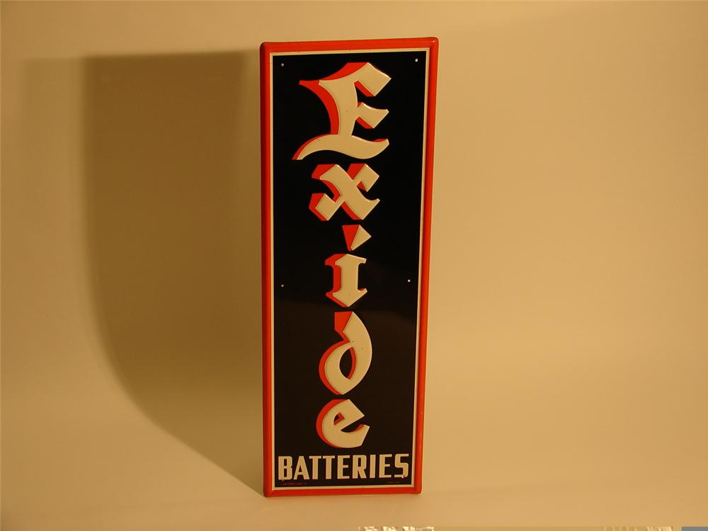 Beautiful N.O.S. 1954 Exide Batteries embossed tin garage sign. - Front 3/4 - 47062