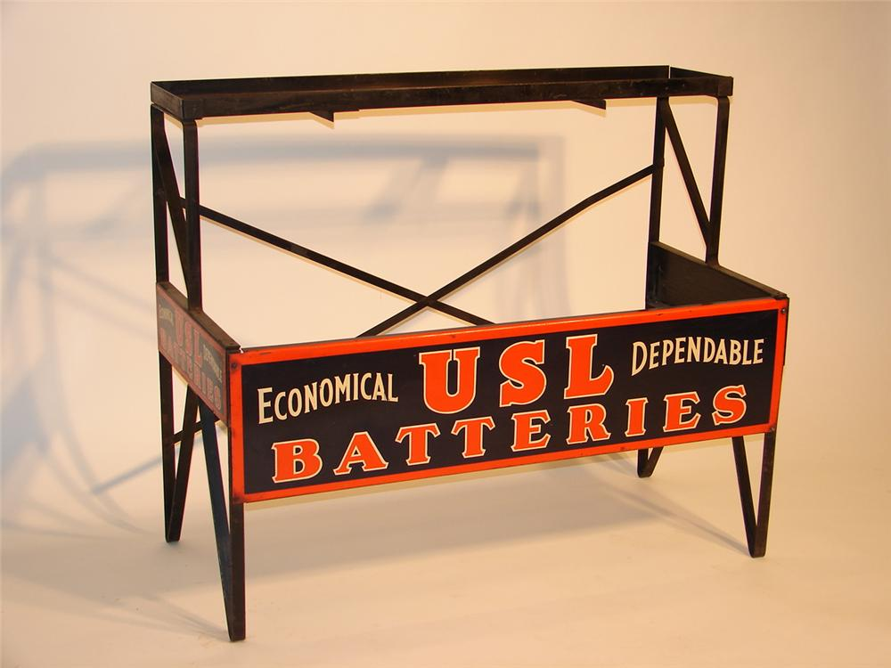 1930s USL Batteries station display stand with original signs attached. - Front 3/4 - 47066