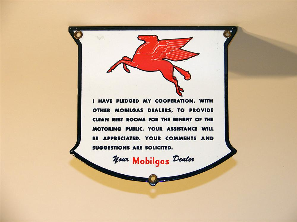 N.O.S. Late 40s-early 50s Mobilgas Rest Room dealer pledge porcelain sign. - Front 3/4 - 47072