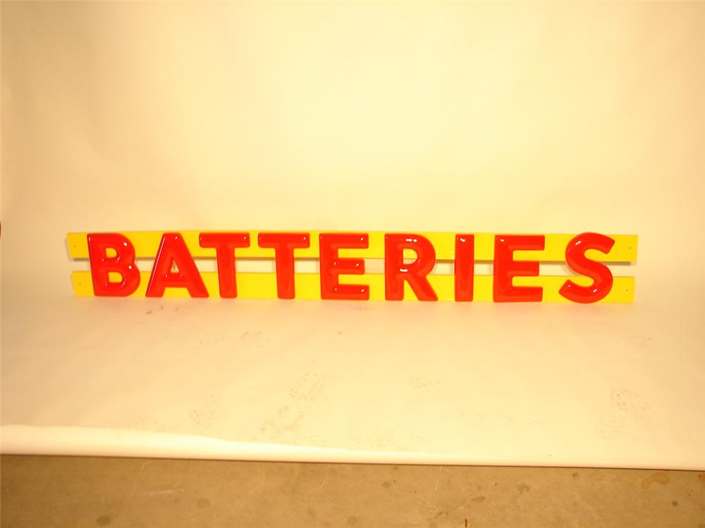 """N.O.S. set of 1950s-60s Shell Gasoline Station """"Batteries"""" three-dimensional letters. - Front 3/4 - 47076"""