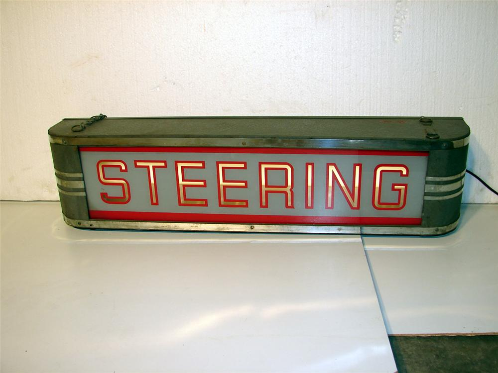1930s Steering glass faced light-up garage sign. - Front 3/4 - 47080