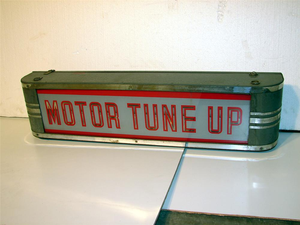 1930s Motor Tune-Up glass faced light-up garage sign. - Front 3/4 - 47081