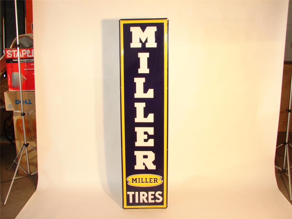 N.O.S. 1950s Miller Tires vertical embossed tin garage sign. - Front 3/4 - 47086