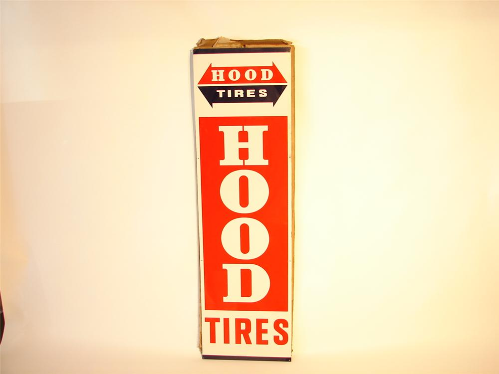 N.O.S. late 1960s Hood Tires tin garage sign with original shipping carton. - Front 3/4 - 47087