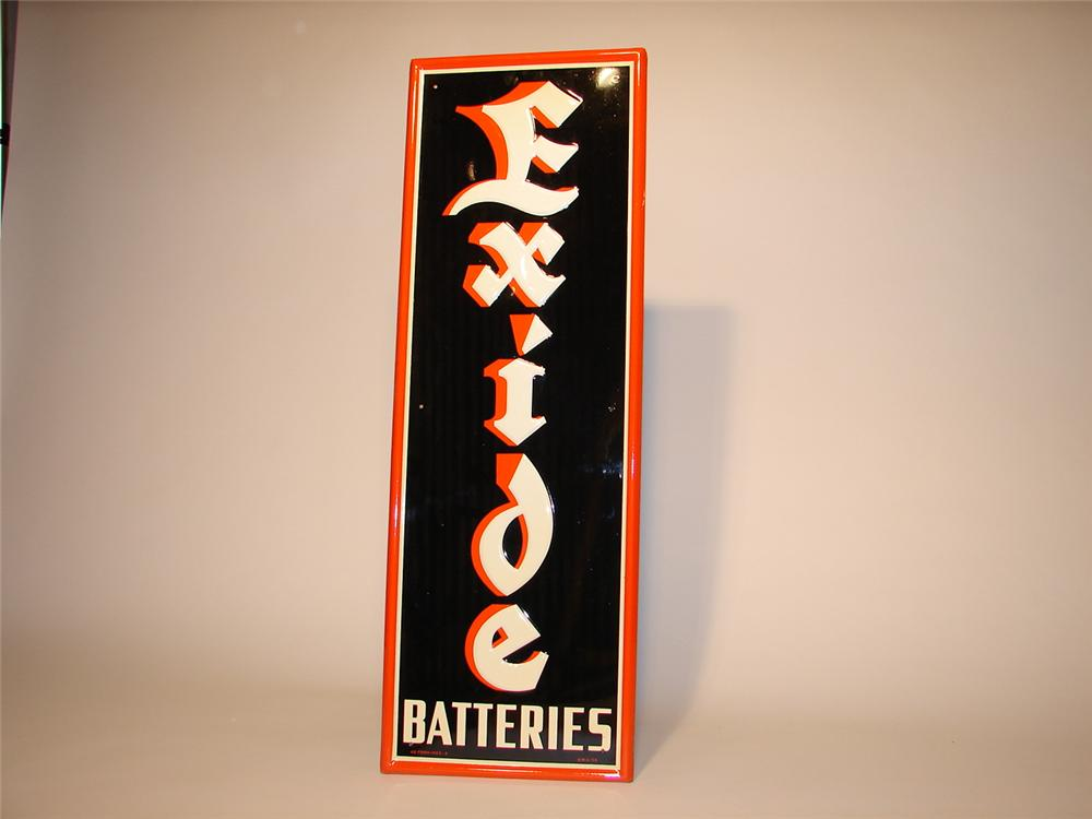 N.O.S. 1954 Exide Batteries single-sided tin self-framed garage sign. - Front 3/4 - 47088