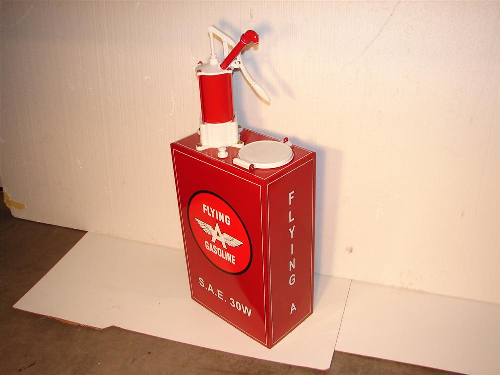 Nicely restored 1930s Flying A Gasoline Station oil lubester. - Front 3/4 - 47090