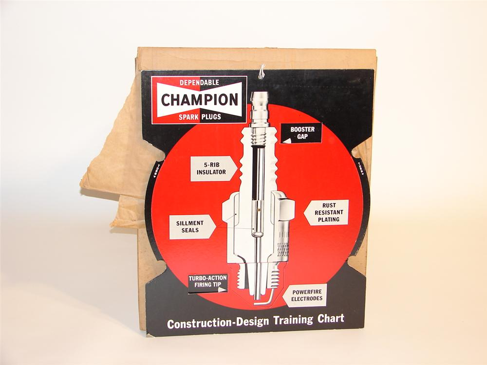 N.O.S. 1960s Champion Spark Plugs informational counter-top display piece - Front 3/4 - 47092