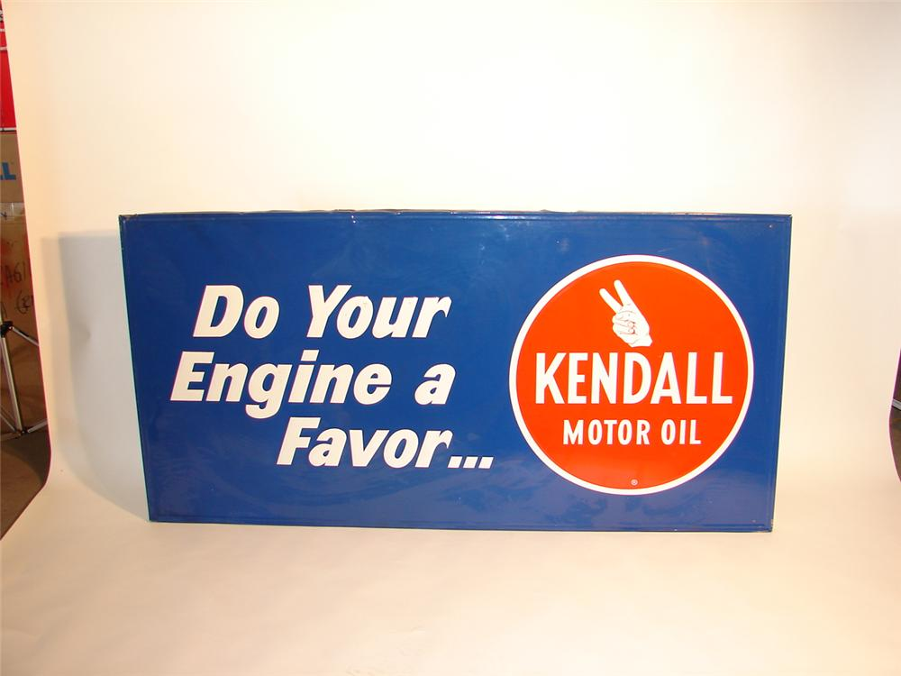N.O.S. Large 1960s Kendall Motor Oil tin garage sign with wood frame. - Front 3/4 - 47094