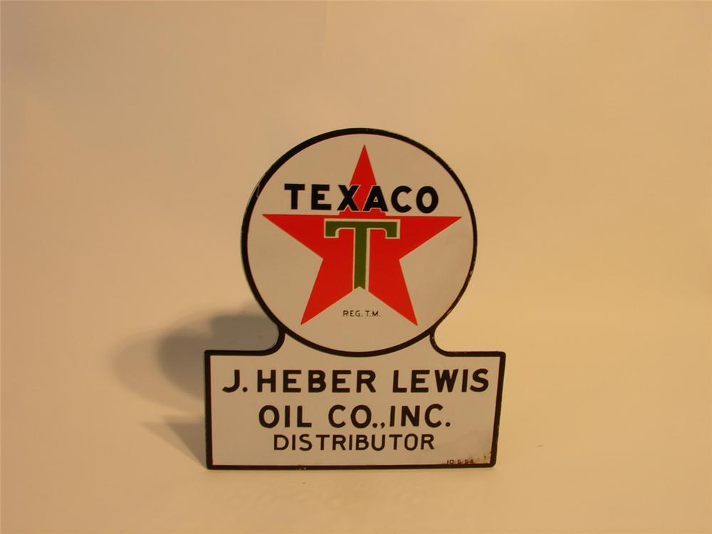 "Very clean Texaco ""Keyhole"" distributor porcelain truck plate sign. - Front 3/4 - 47095"