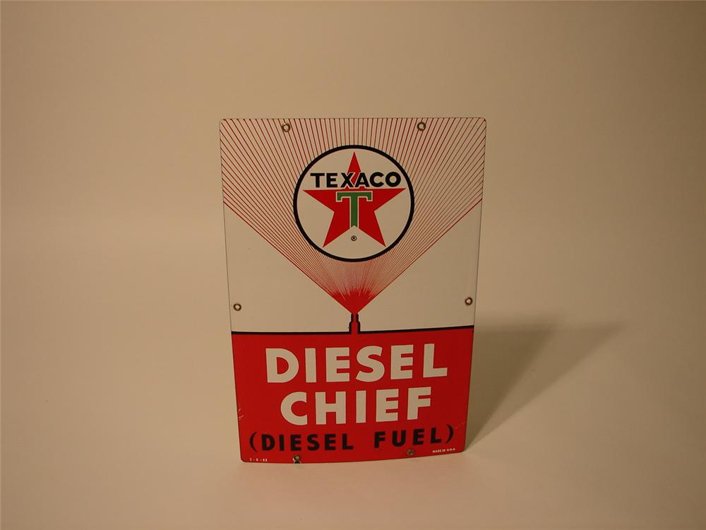 1963 Texaco Diesel Chief porcelain pump plate sign. - Front 3/4 - 47096