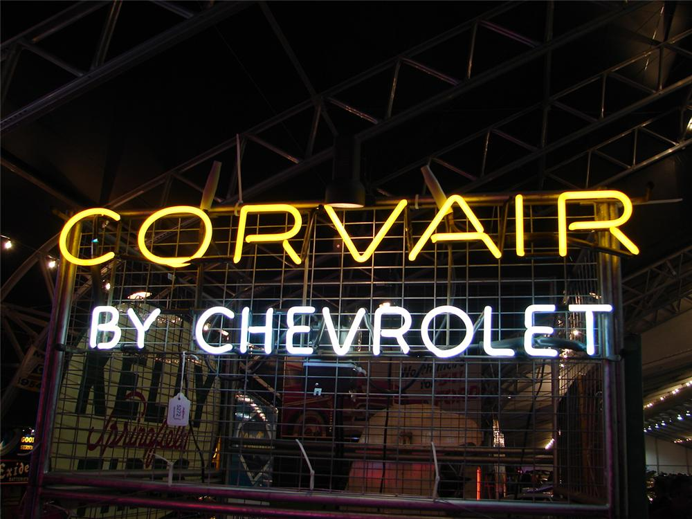 Corvair by Chevrolet dealership window neon sign. - Front 3/4 - 47100