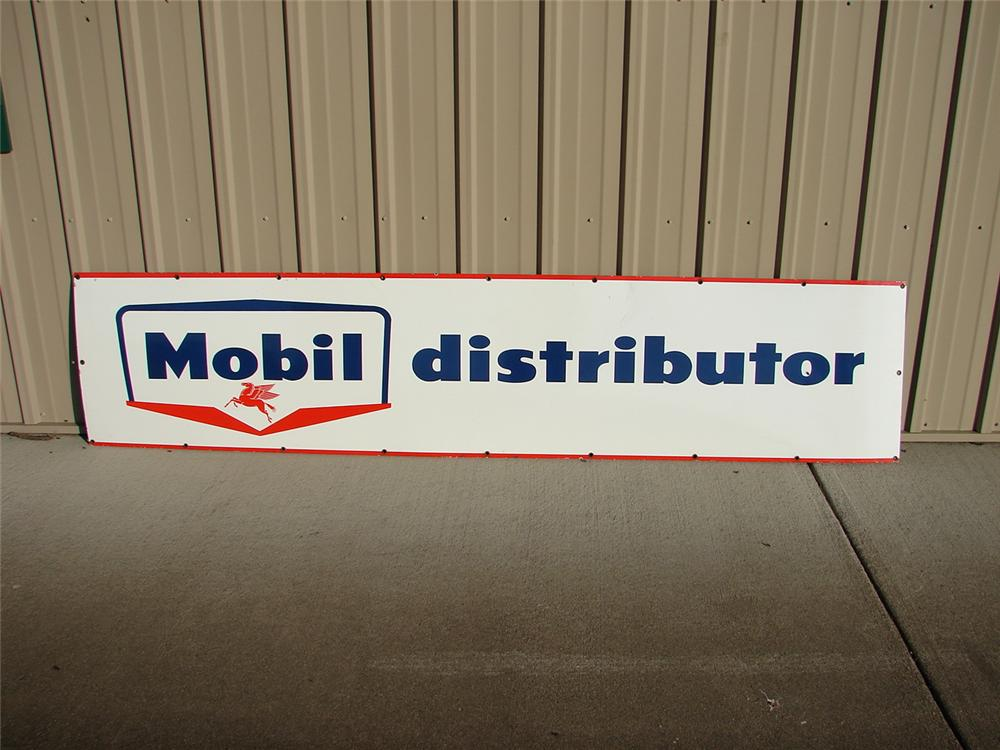 Late 50s Mobil Oil distributor single-sided porcelain sign. - Front 3/4 - 47102