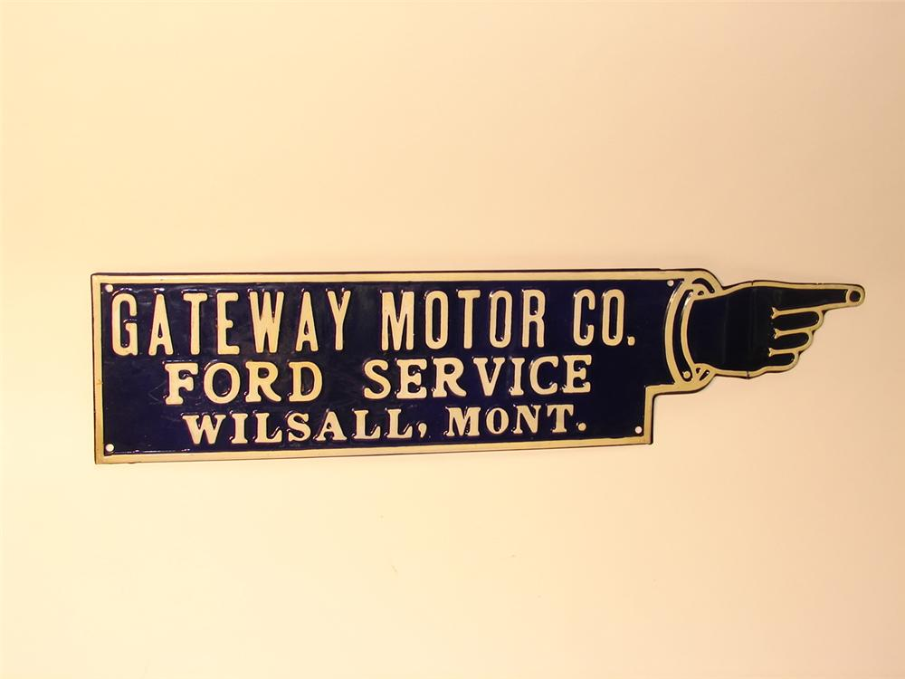 "N.O.S. late 20s-early 30s Ford Service ""Gateway Motor Co"" die-cut tin dealer sign. - Front 3/4 - 47103"