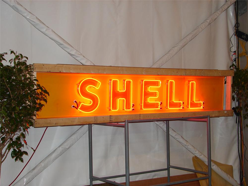 Brilliant 1950s Shell Oil single-sided porcelain neon station sign. - Front 3/4 - 47108