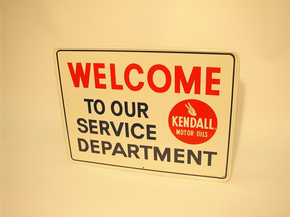 N.O.S. 1960s Kendall Service Department tin sign. - Front 3/4 - 47109