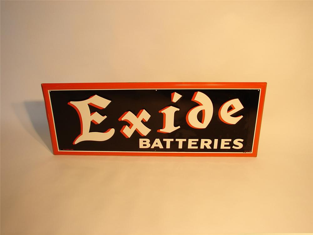 N.O.S. 1940s Exide Batteries horizontal tin garage sign. - Front 3/4 - 47110