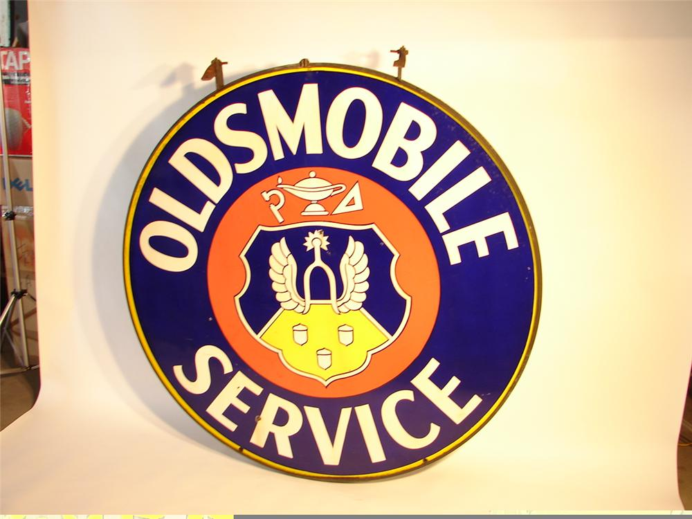 Spectacular 1940s Oldsmobile Service double-sided porcelain - Front 3/4 - 47112
