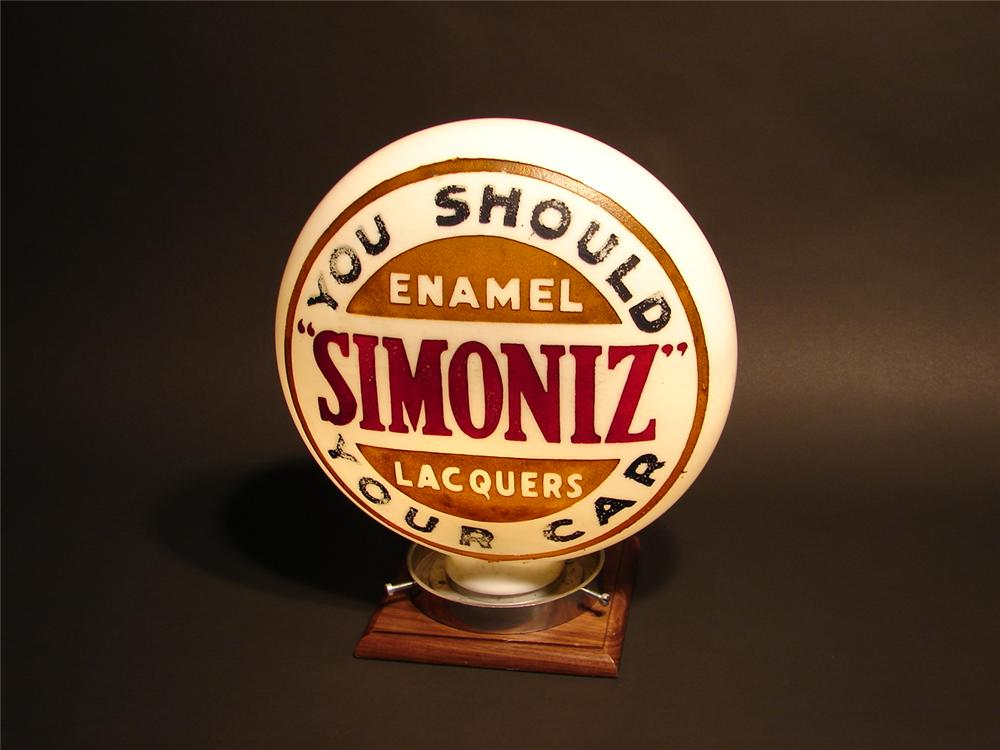 Rare late 20s-early 30s Simoniz one-piece etched garage light-up globe. - Front 3/4 - 47113