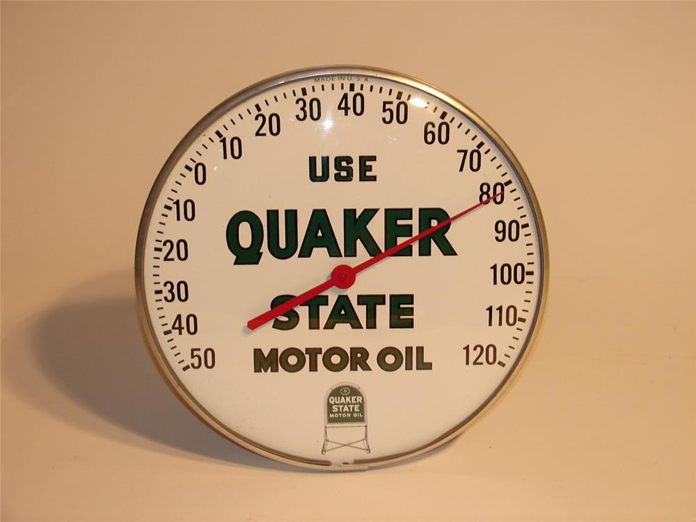 N.O.S. Quaker State Motor Oils glass-faced station thermometer. - Front 3/4 - 47118