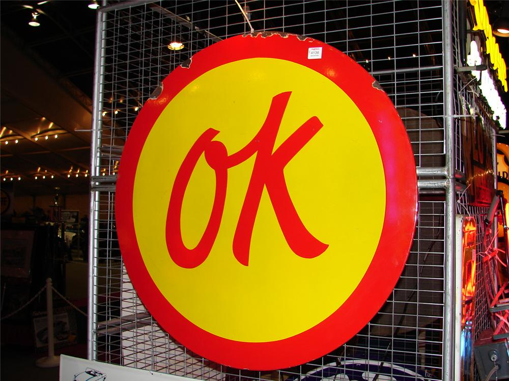 "Rare Chevrolet ""OK"" Used Cars orange and yellow porcelain dealership sign. - Front 3/4 - 47128"