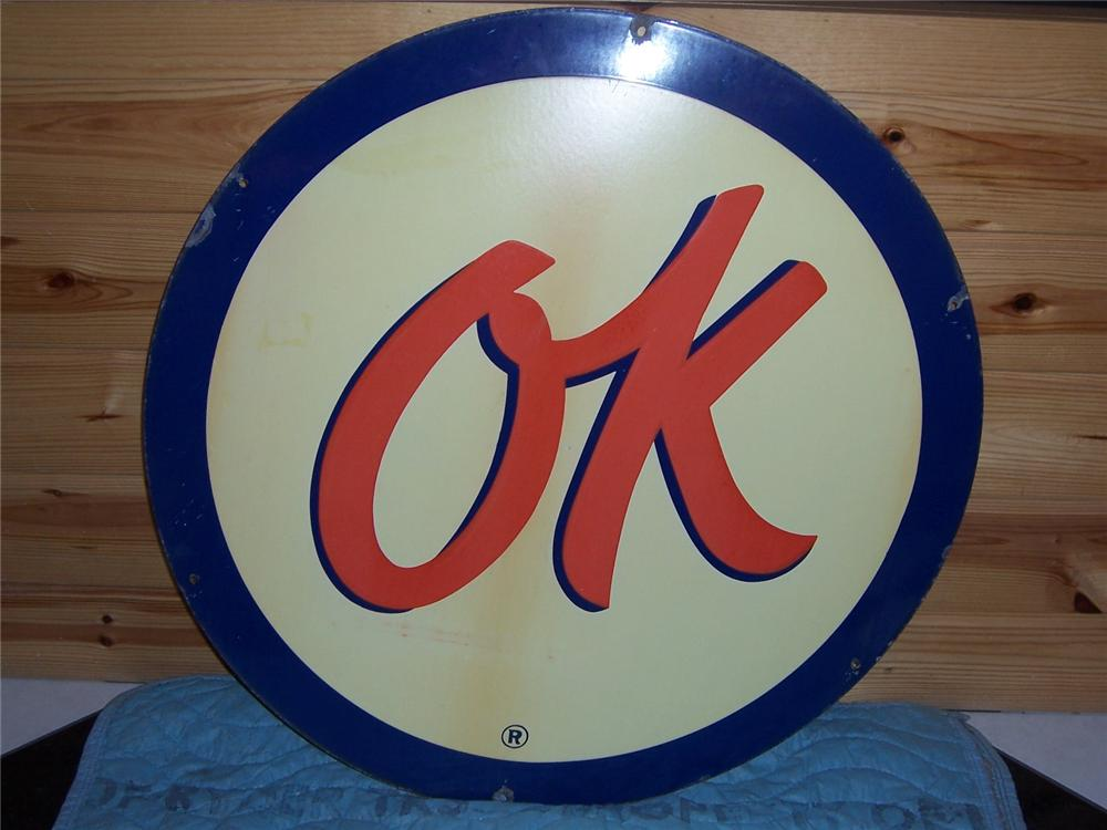 "1950s Chevrolet ""OK"" Used Cars porcelain dealership sign. - Front 3/4 - 47129"