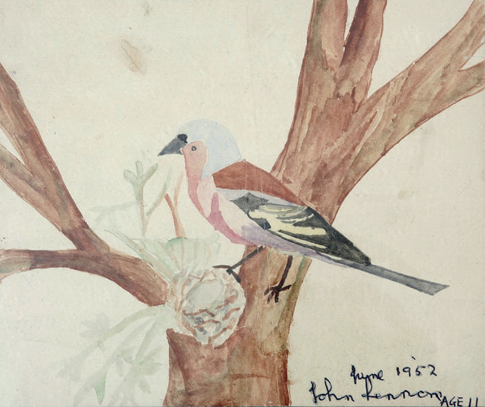 John Lennon signed original childhood watercolor painting of a bird, 1952. - Front 3/4 - 47426