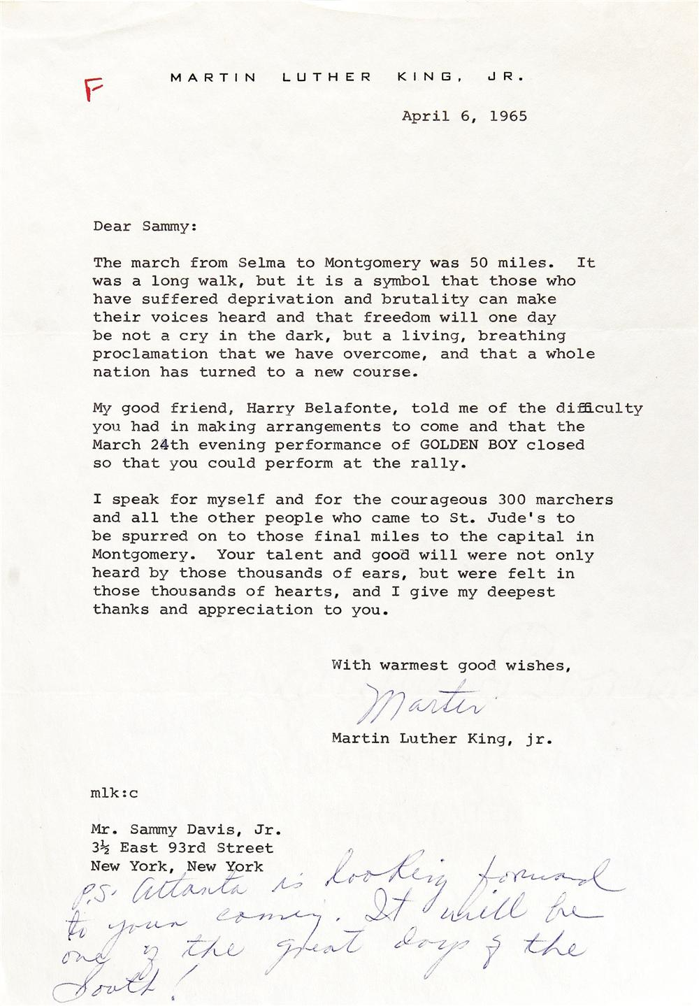 Martin Luther King Jr. Signed Letter to Sammy Davis Jr., Referencing the Selma to Montgomery Marches. NO LOT NUMBER GIVEN IN CATALOG. REFER TO PAGE 6. - Front 3/4 - 47440