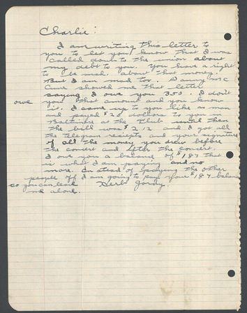 Charlie Parker important correspondence and documentation regarding his arbitration, 1950s-1960s. - Front 3/4 - 47442