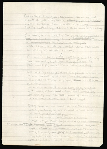 "Handwritten lyrics by Ronnie Wood of the Rolling Stones, in his own hand circa 1970. Title - ""Everytime I see you."" - Front 3/4 - 47815"