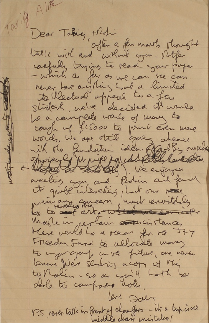 John Lennon handwritten and signed letter to political activist Tariq-Ali. - Front 3/4 - 47849