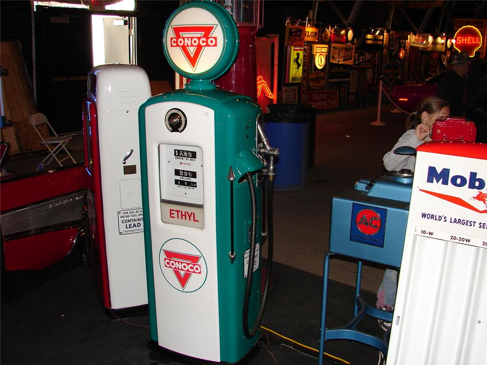 1948 Bennett Model #756 Conoco Ethyl gas pump.  Fully restored and lights work. - Front 3/4 - 47915