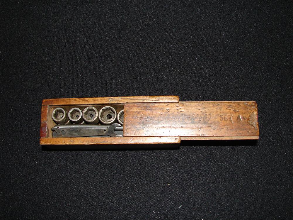 "Early automotive spark plug socket set.  Appears to be for the Ford Model ""A"". - Front 3/4 - 47977"