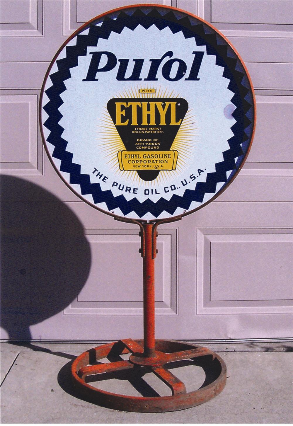 "Scarce 1930s Pure ""Purol"" with Ethyl double-sided porcelain curb sign. - Front 3/4 - 47983"
