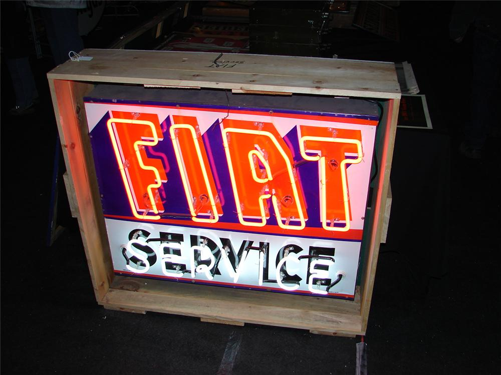Early 60s Fiat Automobiles porcelain neon dealership sign. - Front 3/4 - 47993