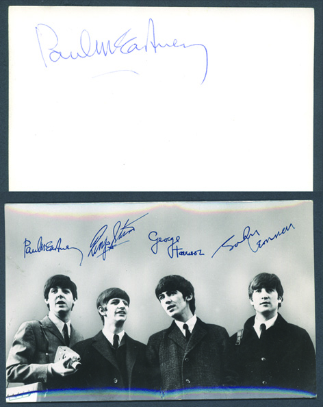 The Beatles promo card signed by Paul McCartney. - Front 3/4 - 48044